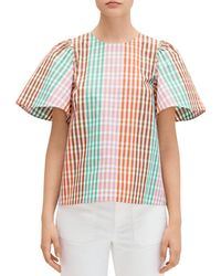 Kate Spade Rainbow Plaid Top - Red