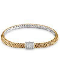 John Hardy 18k Bonded Yellow Gold & Sterling Silver Classic Chain Diamond Bracelet - Metallic