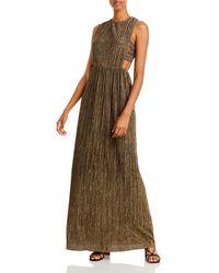 BCBGMAXAZRIA Pleated Metallic Evening Gown