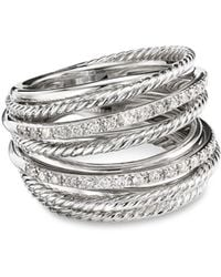 David Yurman Wide Crossover Pavé Diamond Ring - Metallic