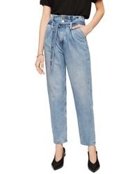 Anine Bing Everly Paper Bag Waist Jeans In Blue