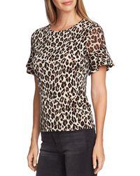 Vince Camuto Leopard Flutter - Sleeve Top - Black