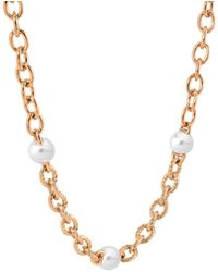 Majorica Stainless Steel Imitation Pearl Link Bracelet - Metallic