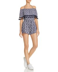 Jack BB Dakota - Genisis Printed Off-the-shoulder Romper - Lyst