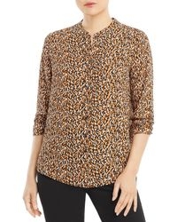 T Tahari Printed Band Collar Shirt - Multicolour