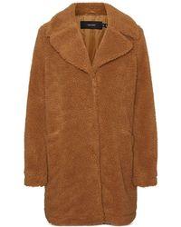 Vero Moda Faux Fur Teddy Coat - Brown