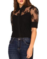 Gracia Sheer Lace Blouse (43% Off) - Comparable Value $88 - Black