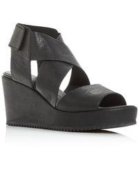 Eileen Fisher Whimsey Wedge Sandals - Black