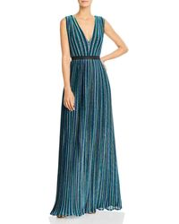 BCBGMAXAZRIA - Metallic Stripe Pleated Gown - Lyst