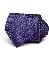 Canali Mini Geometric Neat Classic Tie - Blue