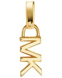 Michael Kors Mott Mk Logo Charm In 14k Gold - Plated Sterling Silver - Metallic