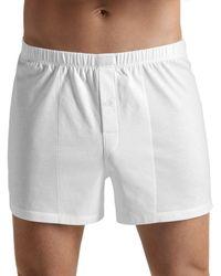 Hanro Cotton Sporty Button Fly Boxers - White
