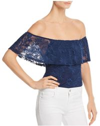Band Of Gypsies - Abby Floral Embroidered Ruffled Bodysuit - Lyst