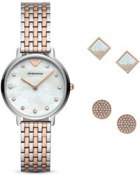 Emporio Armani - Two-tone Stainless Steel Bracelet Watch 32mm Gift Set - Lyst