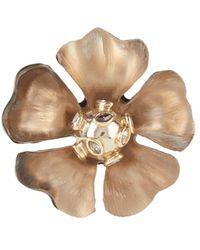 Alexis Bittar Sputnik Crystal & Multicolor Stone Flower Pin - Brown