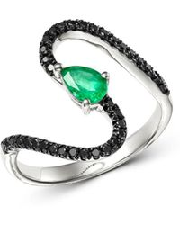 Bloomingdale's - Black Diamond & Emerald Teardrop Swerve Cocktail Ring In 14k White Gold - Lyst