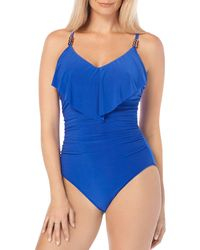 Magicsuit Isabel Slimming Ruffled Underwire One-piece Swimsuit - Blue