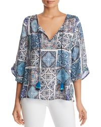 Tolani Plus Size Edith Mosaic Tile Print Split-neck 3/4-sleeve Silk Tunic - Blue