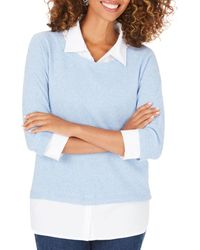 Foxcroft Miles Layered - Look Sweater - Blue
