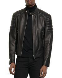Sandro Biker Leather Jacket - Black