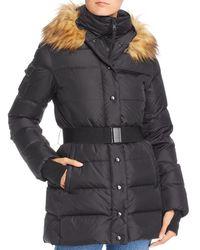 Aqua Faux Fur - Trim Belted Puffer Coat - Black