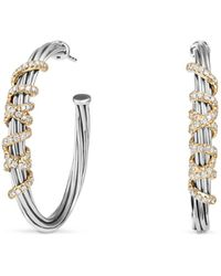 David Yurman - Helena Large Hoop Earrings With Diamonds And 18k Gold - Lyst