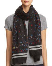 Aqua Border - Stripe Floral Wool Scarf - Black