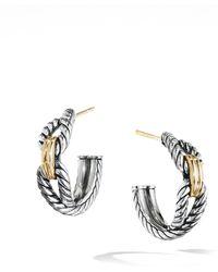 David Yurman Cable Loop Hoop Earrings With 18k Gold - Metallic