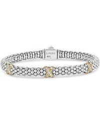 Lagos Sterling Silver & 18k Yellow Gold Caviar Diamond Station Rope Bracelet - Metallic