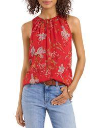Vince Camuto V Neck Floral Print Top - Red