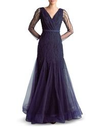 Basix Black Label Embroidered Tulle Gown - Blue