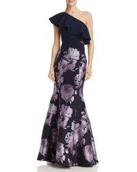 Aqua - One-shoulder Brocade Gown - Lyst