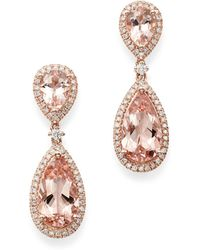 Bloomingdale's Pear - Shaped Morganite & Diamond Drop Earrings In 14k Rose Gold - Pink