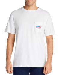 Vineyard Vines Surfer Flag Cotton Pocket Tee - White