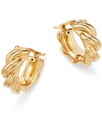 Bloomingdale's - Knotted Small Hoop Earrings In 14k Yellow Gold - Lyst