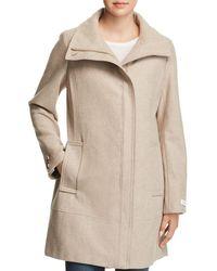 Calvin Klein Seamed Bouclé Coat - Natural