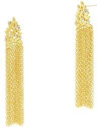 Freida Rothman Fleur Bloom Fringe Drop Earrings In 14k Gold - Plated & Rhodium - Plated Sterling Silver - Metallic