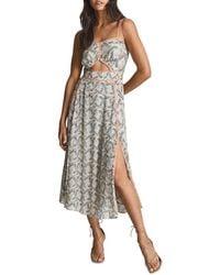 Reiss Natalie Printed Open Back Midi Dress - White