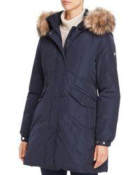 Kate Spade Fine Oxford Faux Fur Trim Parka - Blue