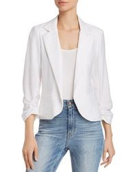 Aqua - Ruched Sleeve Open-front Blazer - Lyst