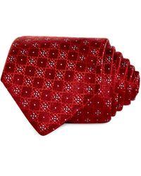 HUGO Geometric Grid Silk Skinny Tie - Red