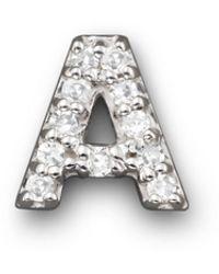 Bloomingdale's Kc Designs Diamond Initial Stud Earring In 14k White Gold - Metallic