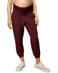 Ingrid & Isabel Maternity Printed Smocked Waist Jogger Trousers - Red