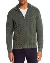 Bloomingdale's Cotton Classic Fit Full - Zip Cable Sweater - Green