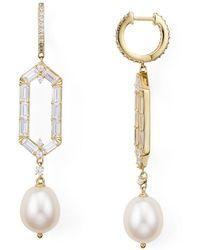 Nadri - Josephine Geo Cultured Freshwater Pearl Drop Earrings - Lyst