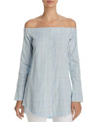 DL1961 - Adelphi & Willoughby Off-the-shoulder Striped Shirt - Lyst