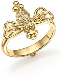 Temple St. Clair Garden Of Earthly Delights Diamond & 18k Gold Resting Bee Ring - Metallic
