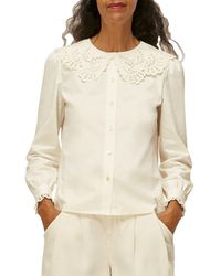 Whistles Lace Collared Cotton Blouse - White