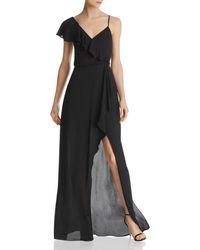BCBGMAXAZRIA Asymmetric Faux - Wrap Gown - Black