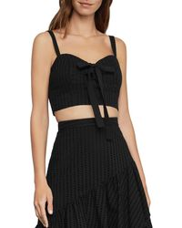 BCBGMAXAZRIA Lace - Up Bustier Cropped Top - Black
